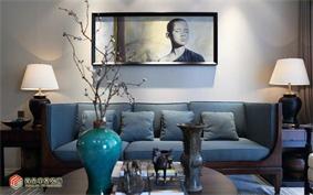 简约客厅背景墙实景图
