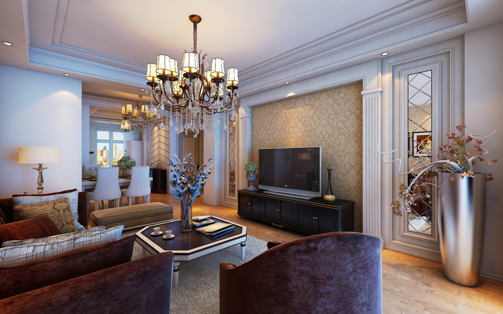 欧式风格 高端大气0平米二居室装修效果图_霍腾飞设计