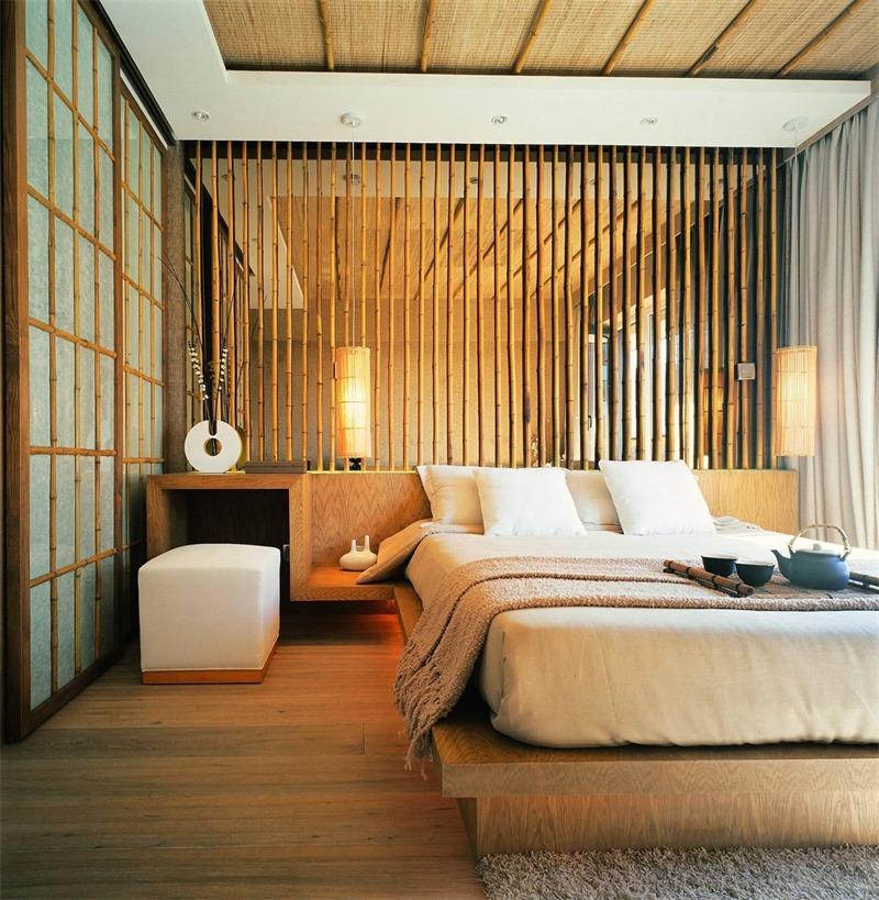 日式卧室背景墙实景图