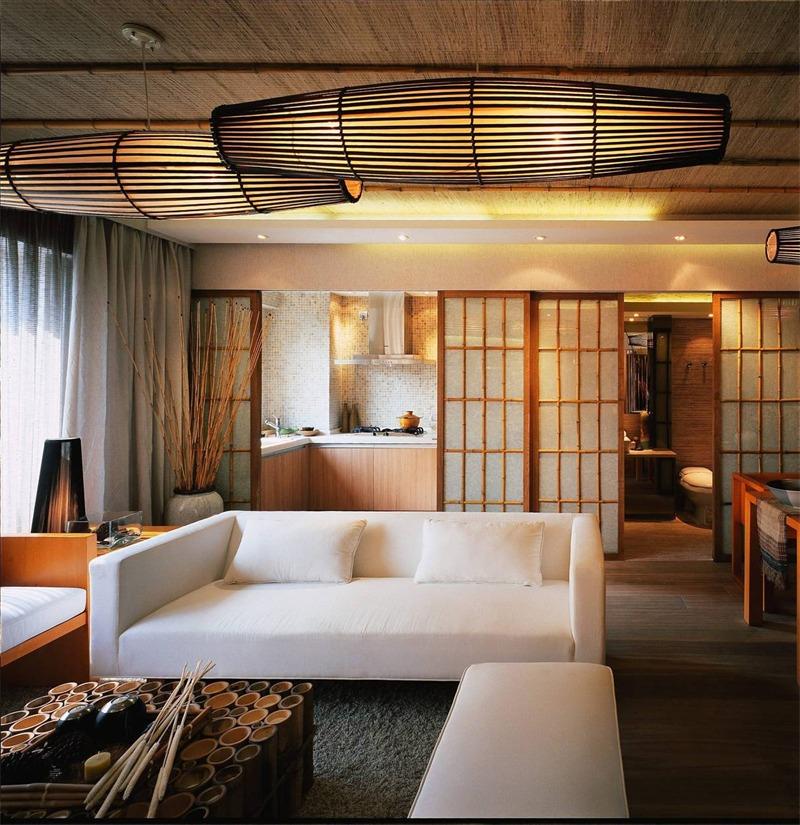日式客厅沙发背景墙实景图