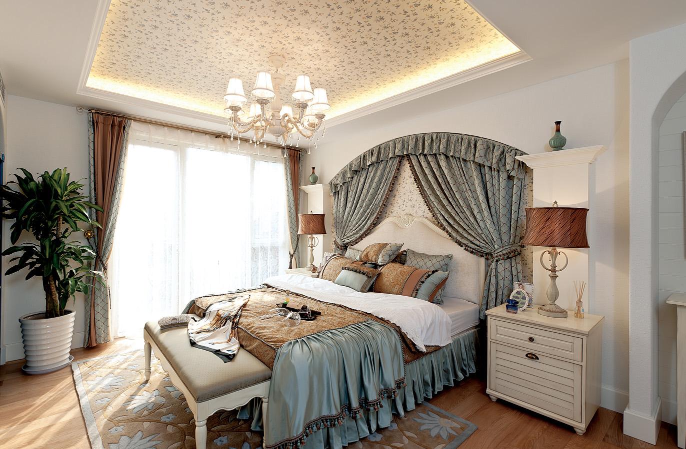 地中海卧室背景墙实景图