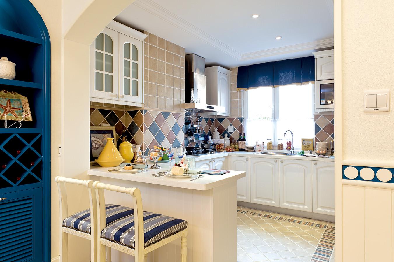 地中海厨房吧台实景图