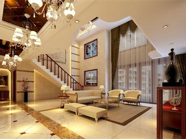 新古典客厅楼梯效果图