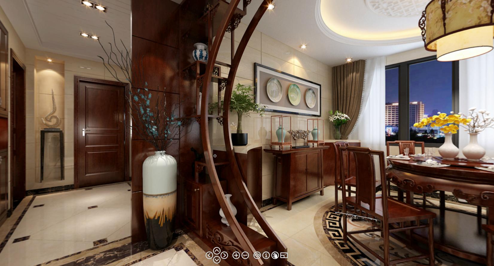 中式餐厅隐形门效果图