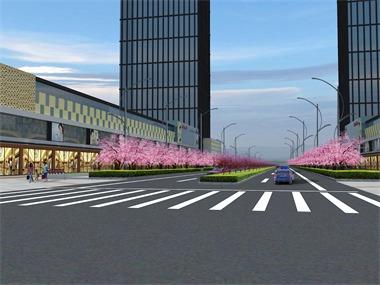 广场道路绿化效果图