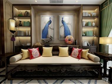 中式客廳沙發背景墻效果圖