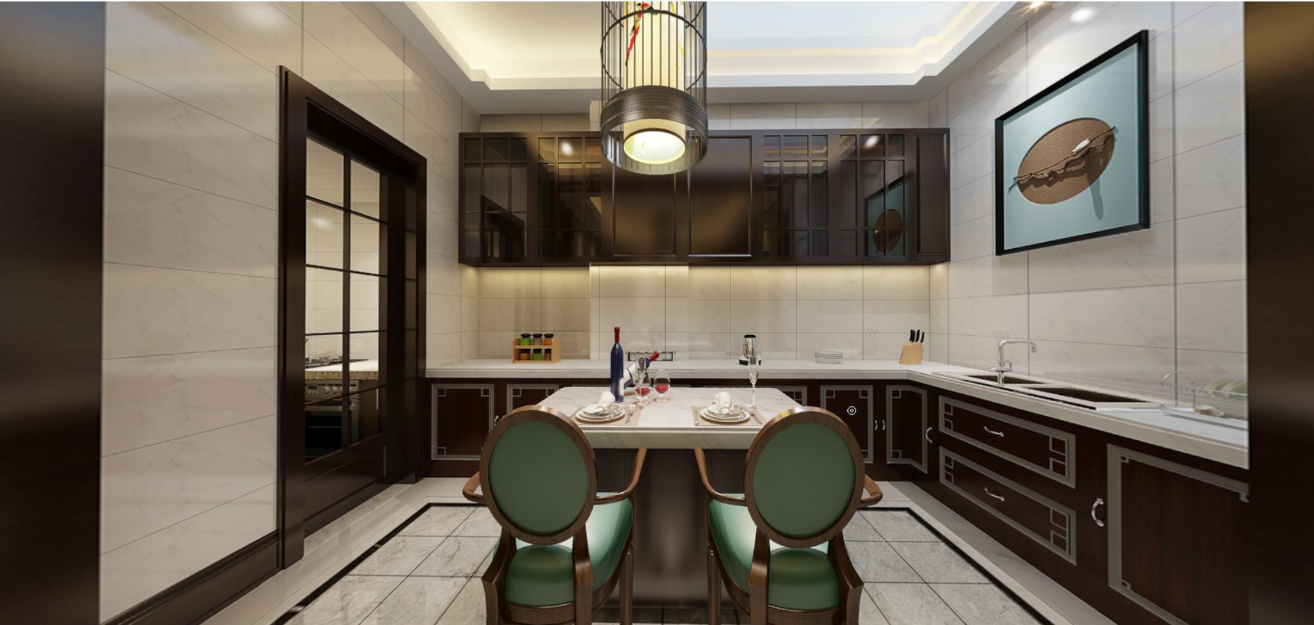 中式厨房吧台效果图