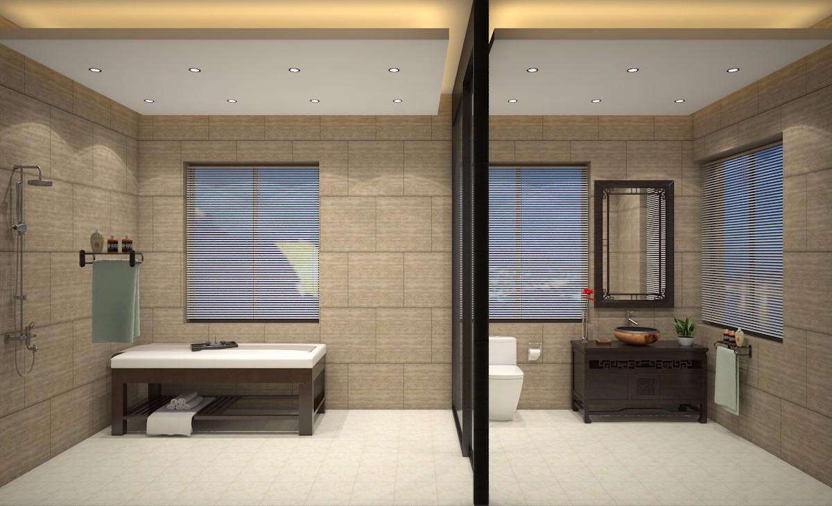 会所浴室效果图