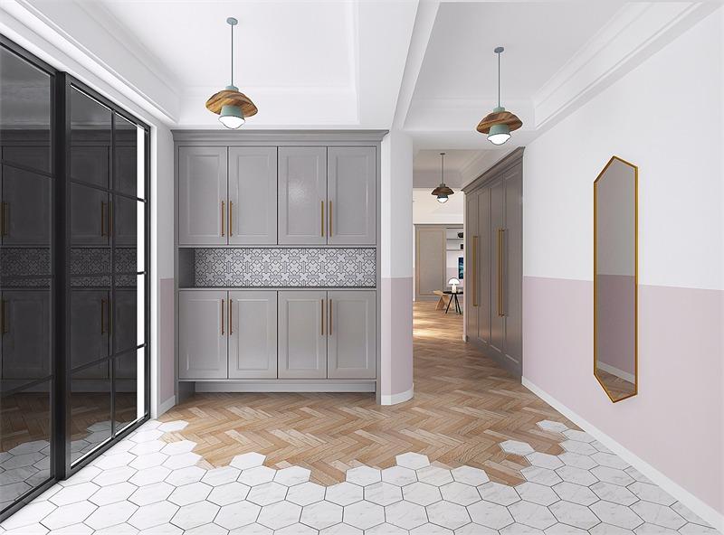 北欧玄关鞋柜效果图-藏珑 美式北欧混搭200平米四居室装修效果图 廖