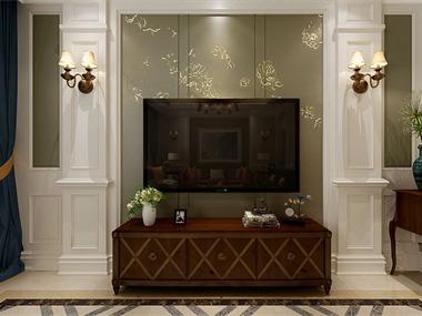 美式客廳電視背景墻效果圖