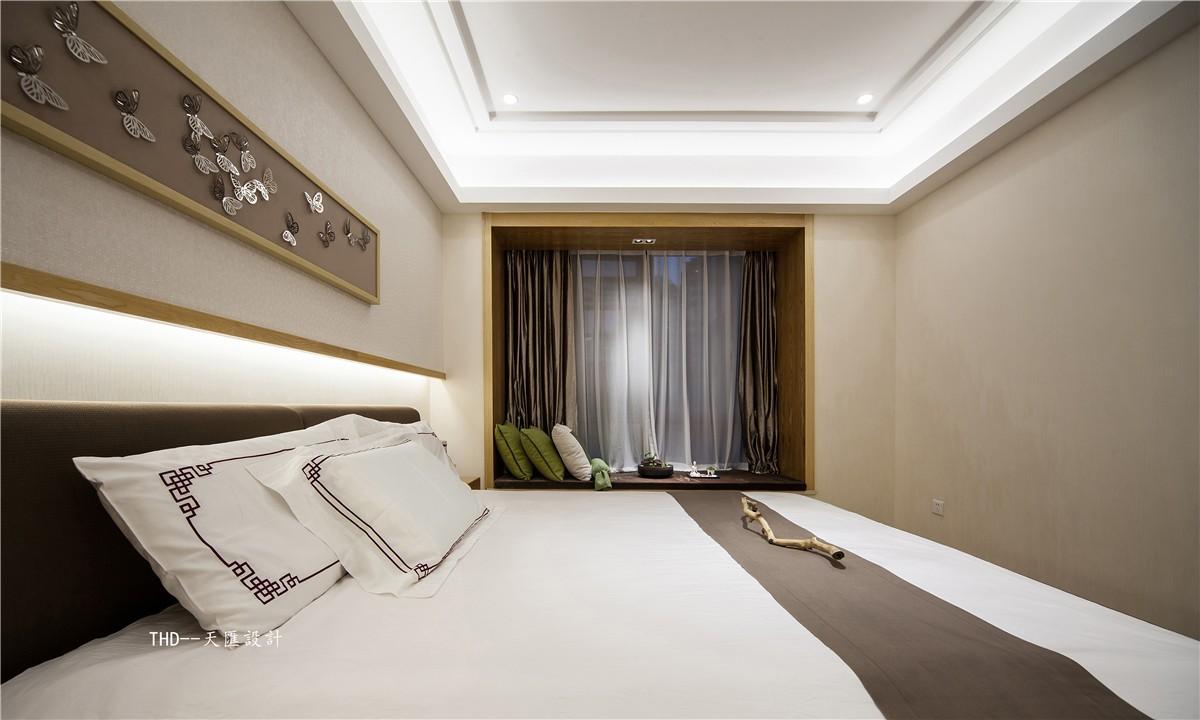 中式卧室飘窗实景图