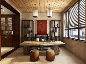 中式阳台吧台效果图