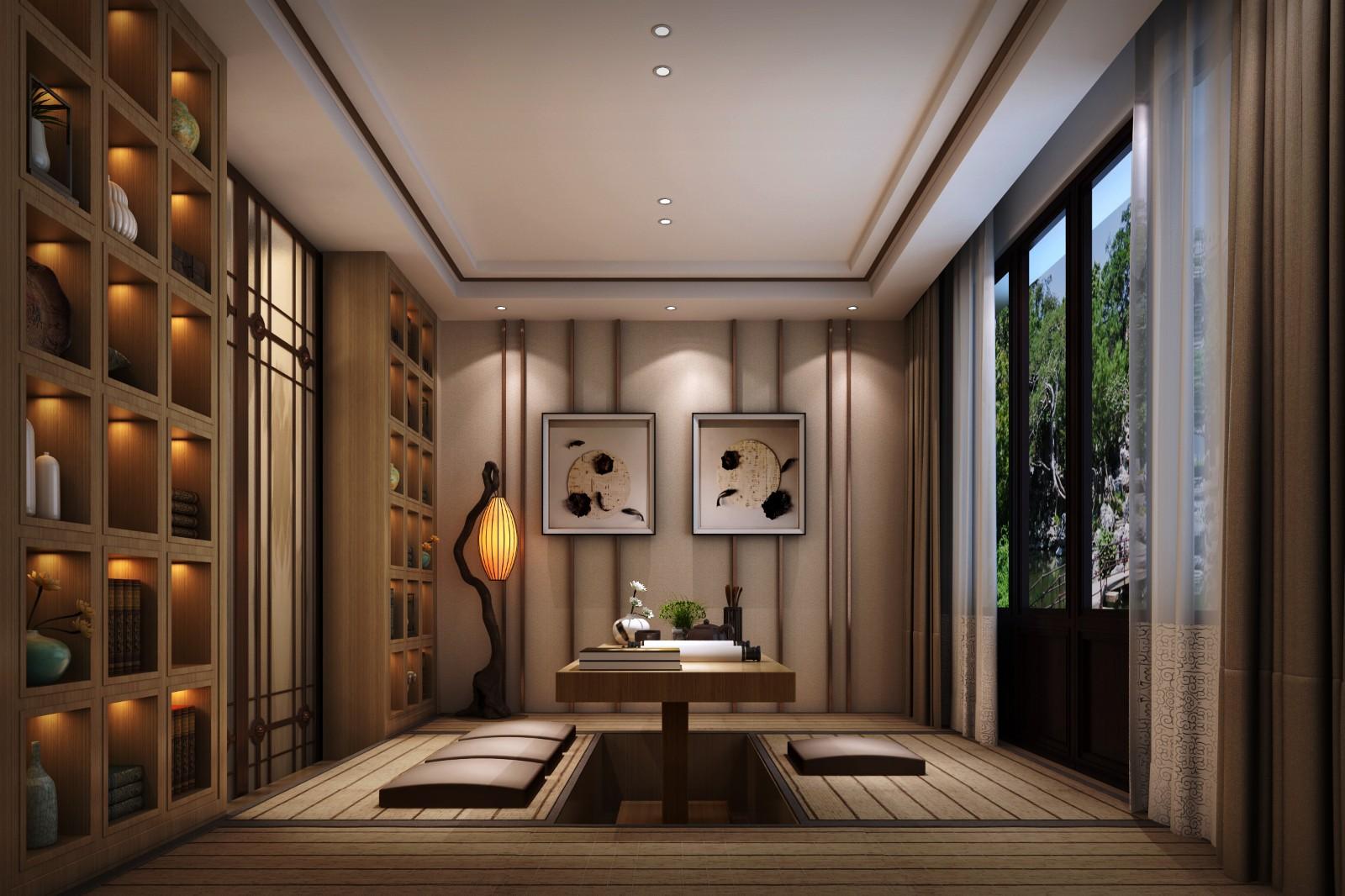中式休闲区地台效果图