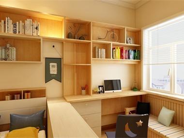 现代书房工作区效果图
