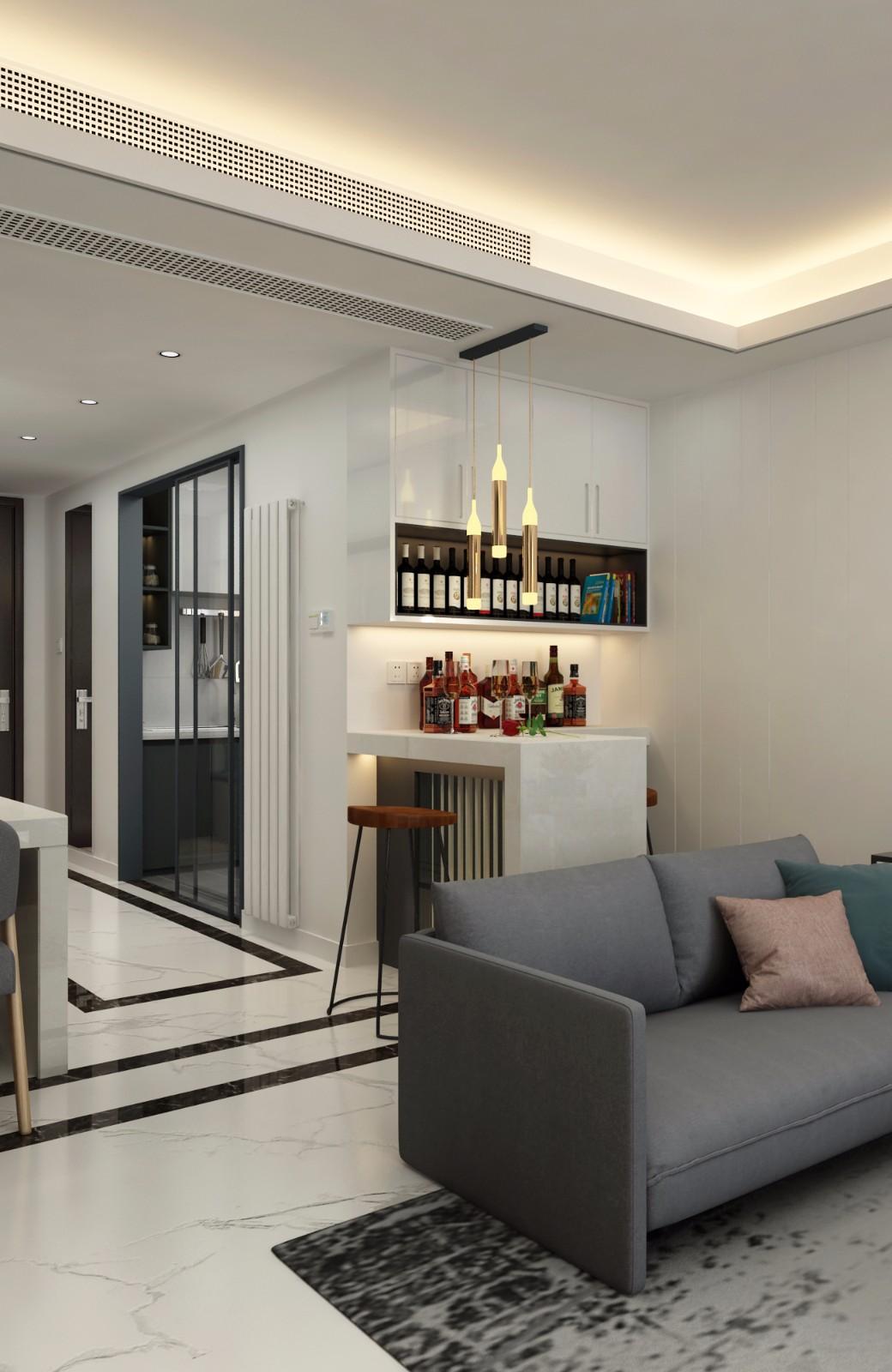 现代客厅酒柜效果图