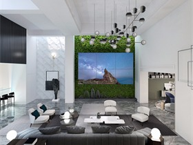 现代视听室背景墙效果图