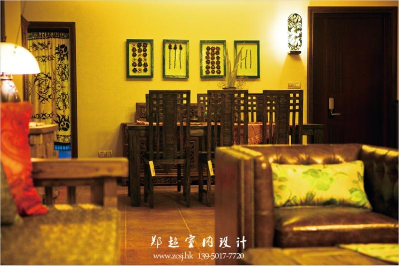 东南亚客厅餐厅背景墙效果图
