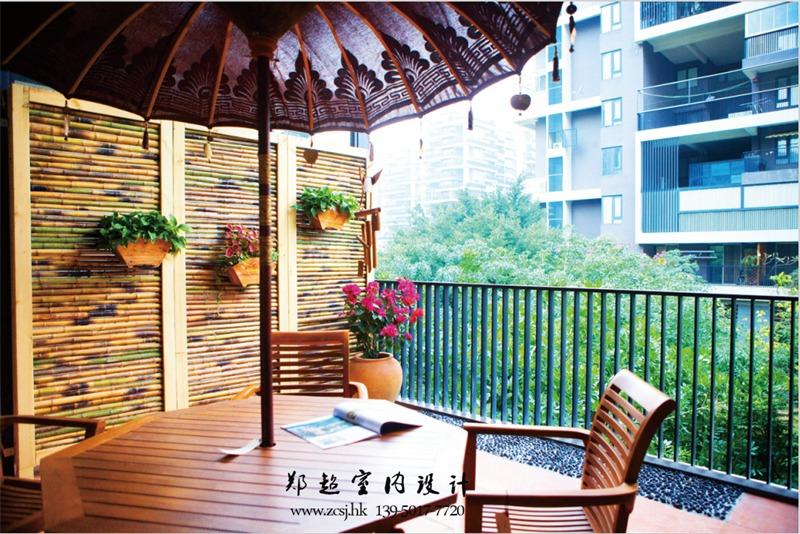 东南亚阳台背景墙效果图