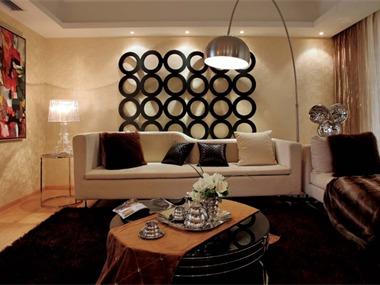 现代客厅沙发背景墙效果图