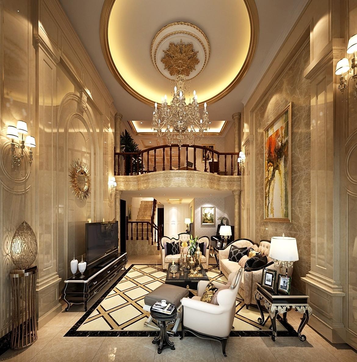 欧式客厅吊顶效果图图片
