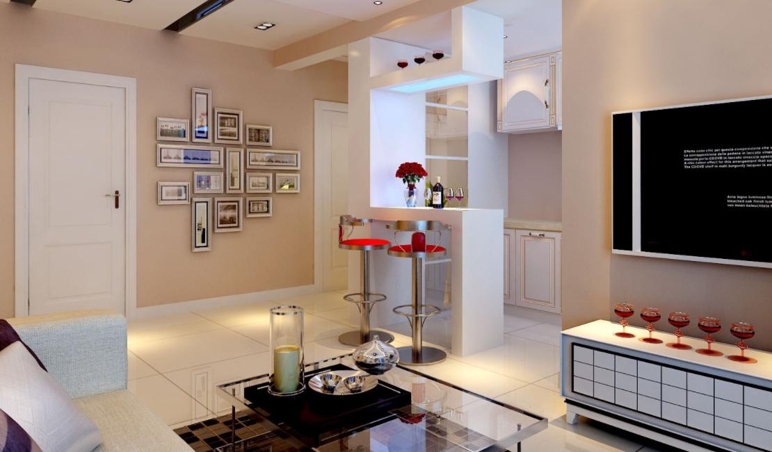 吧台设计效果图欣赏   家庭装修不比外面的酒吧餐馆,转角式,贴墙式