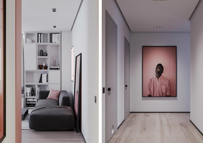 脏粉搭配灰色,法国75平米单身女子公寓