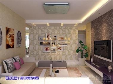 电视背景墙上采用壁纸和石材相结合,突出强烈的现代感