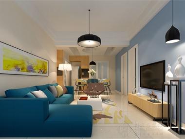 本案室内设计采用的是现代简约风格风格,米黄色作为主